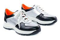 Кожаные женские кроссовки цвет серебро+черный
