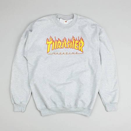 Мужские Свитшоты Thrasher Gray|Серый огонь