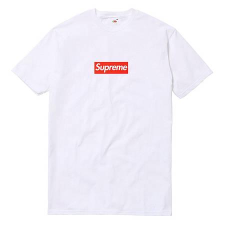 Мужская Футболка Supreme White Белый черный лого