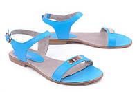 Кожаные женские босоножки цвет голубой