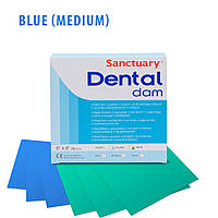 Платки для коффердама (раббердама),синие средние 15x15 см, 36 штук в упаковке, Sanctuary (Малайзия)