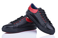 Кожаные женские кроссовки цвет черный