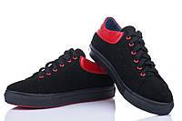Кожаные женские кроссовки замш черный