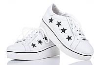 Кожаные женские кроссовки цвет белый звезды