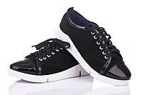 Кожаные женские кроссовки замш + лак