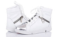 Кожаные женские кроссовки цвет белый