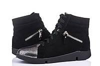 Кожаные женские кроссовки черный замш