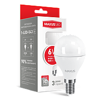 Светодиодная лампа LED Maxus G45 6W теплый свет E14 1-LED-543