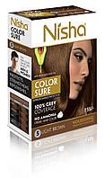 Безамиачная стойкая крем-краска для волос TM Nisha с маслом авокадо Светло-коричневая №5