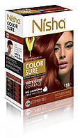 Безамиачная стойкая крем-краска для волос TM Nisha с маслом авокадо Медно-красная №5,64