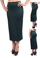 Удлиненная женская юбка карандаш из французского трикотажа зеленая (изумрудный, бутылочный)