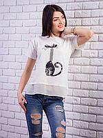 Комбинированная женская футболка с жемчугом Кошка цвет молочный p.42-50 VM1905-1