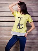 Комбинированная женская футболка с жемчугом Кошка цвет желтый p.42-50 VM1905-2