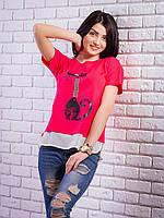 Комбинированная женская футболка с жемчугом Кошка цвет малиновый p.42-50 VM1905-3