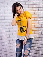 Комбинированная женская футболка с жемчугом Кошка цвет горчица p.42-50 VM1905-4