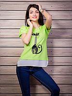 Комбинированная женская футболка с жемчугом Кошка цвет салатовый p.42-50 VM1905-5