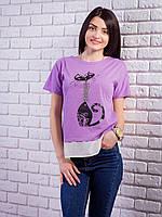 Комбинированная женская футболка с жемчугом Кошка цвет сиреневый p.42-50 VM1905-6