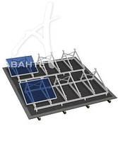 Комплект системы крепления на плоскую крышу с креплением к ней 4 модуля (цинк/цинк)