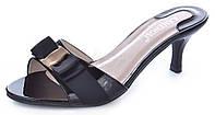 Босоножки женские лакированные на каблуке Eva черные, Черный, 41