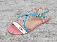 Босоножки женские Marmalade розовый голубой белый на плоском ходу, Розовый, 41