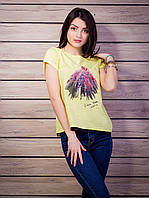 Роскошная женская футболка с принтом и кружевной тесьмой цвет желтый p.42-50 VM1918-2