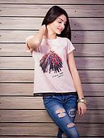 Роскошная женская футболка с принтом и кружевной тесьмой цвет пудра p.42-50 VM1918-4