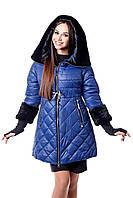 Женский стеганный пуховик с мутоном цвет синий