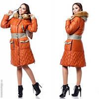 Женское пальтос накладными карманами цвет кирпичный