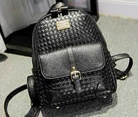 Рюкзак женский кожзам плетенный Mendi Черный, фото 1