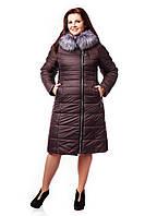 Женское зимнее пальто с искусственным мехом цвет шоколад