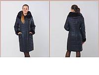 Женское длинное пальто и искусственным мехом мутона сбоку на молнии, размеры 50-60 (разные цвета)