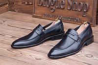 Мужские  кожаные туфли без шнурка Calif, made in Poland.
