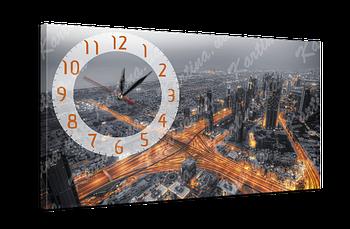 Часы на холсте 7 Вечерний Дубай (53x30 см)