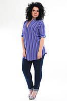 Блузка женская синяя, вискоза, р-ры 46-56