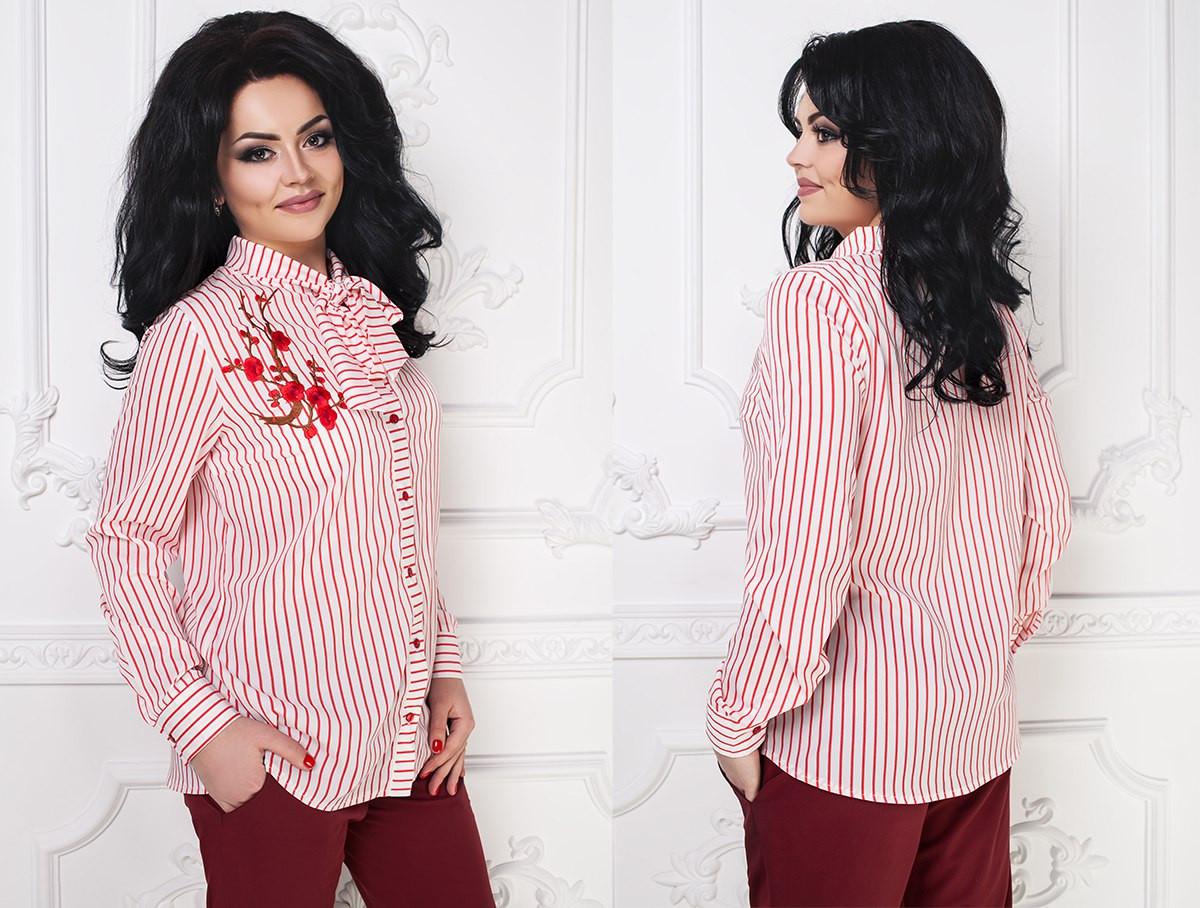 6e7db220a10 Стильная женская шифоновая блуза с вышивкой больших размеров 48-54 -  Стильная женская одежда оптом