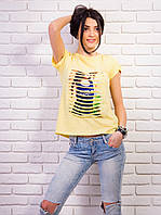 Стильная женская футболка с прорезями спереди цвет желтая p.42-48 VM1897-4