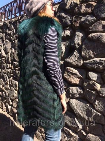 """Женская жилетка из натурального меха лисы """"Шеврон"""", фото 2"""