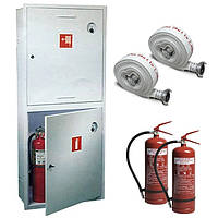 Шкаф пожарный ШПК-322 ВО встроенный без задней стенки под 2 рукава и 2 огнетушителя 1600х600х230 мм