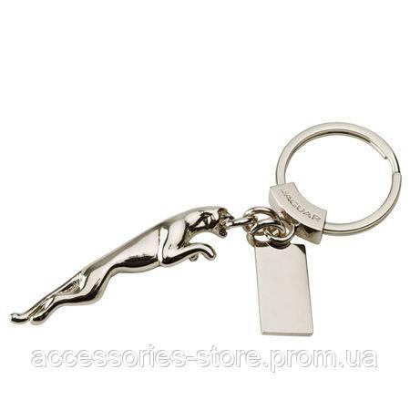 Серебряный брелок Jaguar Leaper Keyring With Plaque Rhodium Silver