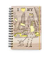 """Деревянный блокнот скетчбук """"Я в Нью-Йорке"""" с цветным внутренним блоком"""