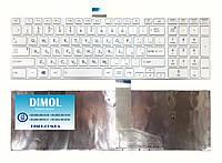 Оригинальная клавиатура для Toshiba Satellite C50, C50D, C50T, C55, C55D, C55T, C70 белая (с белой рамкой), RU