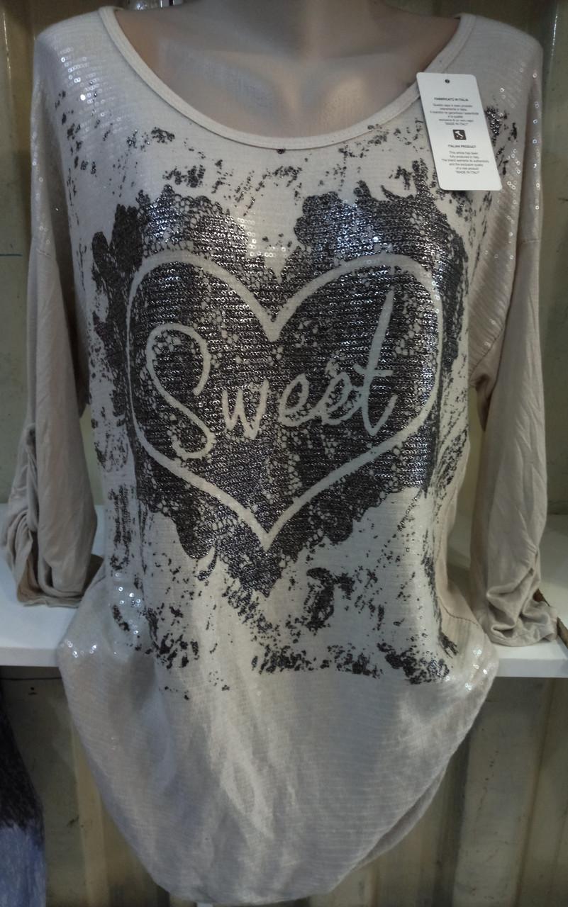 Блуза с сердцем трикотажная женская батальная Sweet