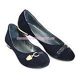 Туфли замшевые синие женские на низкой подошве, фото 4