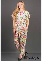 Летний яркий женский костюм большого размера Блейзи Olis-Style 54-60 размеры
