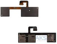 Шлейф для HTC One M7 802w Dual SIM с разъемом SIM-карты и карты памяти