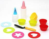 Детский набор для выпечки 13 предметов: 6шт мини-форм для выпечки 2шт бутылочки с насадками для декорации 4шт трафаретов 1шт лопатка