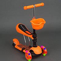 Самокат 3-х колесный 4109 А оранжевый,сиденье,корзинка,колеса PU,свет,в кор.