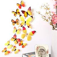 Інтер'єрні об'ємні 3D наклейки жовті Метелики, 12 шт.