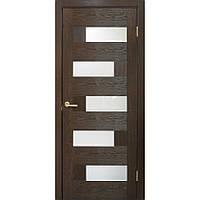 """""""Домино"""" Двери ПВХ Стекло сатин ТМ Омис Каштан, Распашная, 600, дверное полотно со стеклом"""