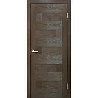 """""""Домино"""" Двери ПВХ Стекло сатин ТМ Омис Каштан, Распашная, 800, Дверное полотно глухое"""